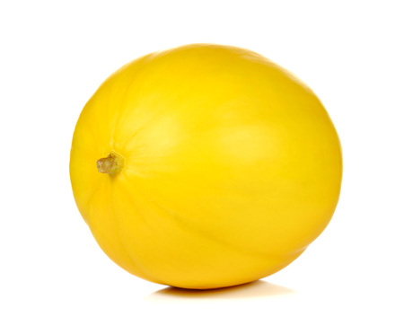 Cantaloupe: Yellow melon full ball with Brown paper label on white background. Stock Photo