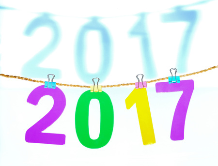 New Year 2017 number on white background.