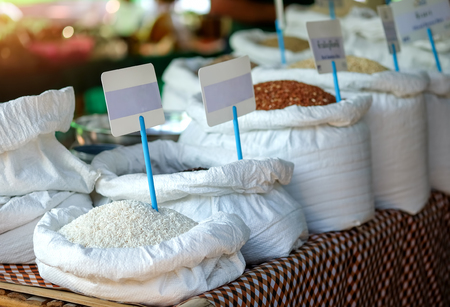 Rice sold in the local market thailand.