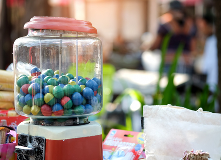 gumball: Gumball machine in the local market thailand.