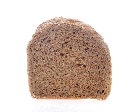Chocolate bread sliced on white background.
