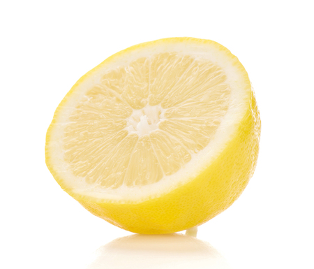 Lime yellow sliced on white background. Stock fotó