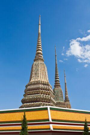 Ancient Pagoda at Wat Pho,The Temple of reclining buddha, Bangkok,Thailand  Stock Photo