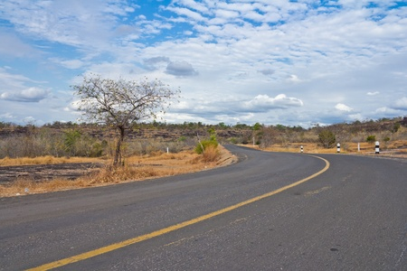 Empty curved road,blue sky