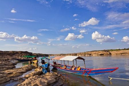 Tourist boat, Sam Phan Bhok in the Mekong River. Ubon Ratchathani, Thailand. Stock Photo
