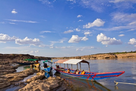 Tourist boat, Sam Phan Bhok in the Mekong River. Ubon Ratchathani, Thailand. Stock Photo