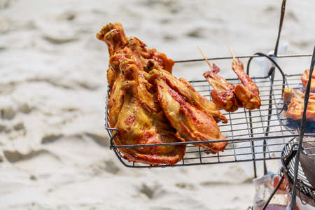 koh samet: Chicken barbecve on the beach ,Koh Samet, thailand
