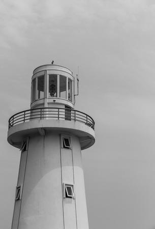 lighthouse on sky background at Rayoug province, Thailand Stock Photo