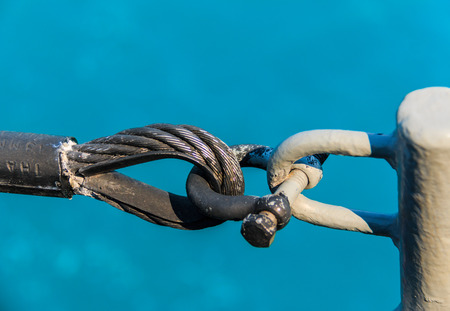 shackle: Sling tied by Shackle aboard warship Stock Photo