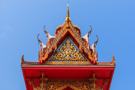 buddhist temple roof: Wat Thai buddhist temple roof detail,Chonburi ,Thailand