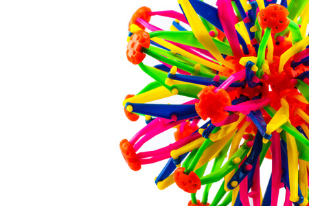Colourful of plastic toy on white background photo
