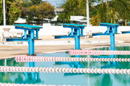 row of stand in Swimming Pool