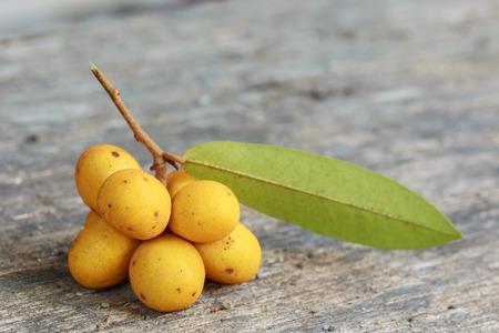 siamensis: Rauwenhoffia siamensis Scheff fruit  on wood Stock Photo