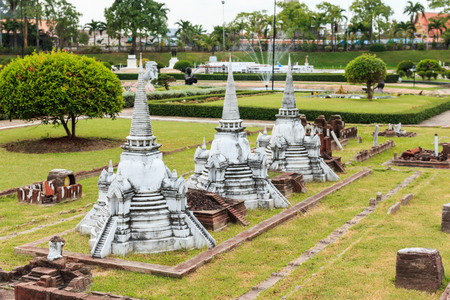 PATTAYA, THAILAND - DECEMBER 27, 2014: Three Chedis at  Wat Phra Sri Sanphet in Ayutthaya Simulated in Mini Siam Park. Mini Siam is a famous miniature park attraction. It had been constructed in 1986