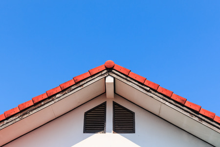 house gable: Gable of a House on blue sky background