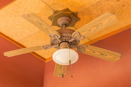 fan ceiling: Old ceiling fan  in the lobby of the hotel Stock Photo