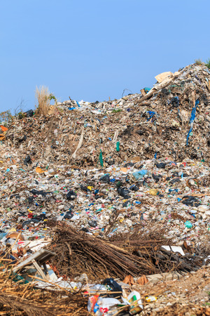 dump yard: Pile of domestic garbage in landfill