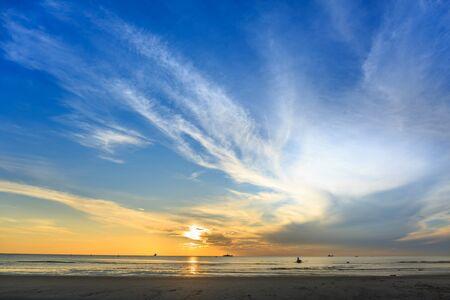 hua hin: Sunrise at Hua Hin beach in Thailand Stock Photo