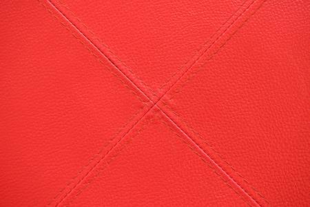 crosswise: Red leather with stitch texture and crosswise  symbol