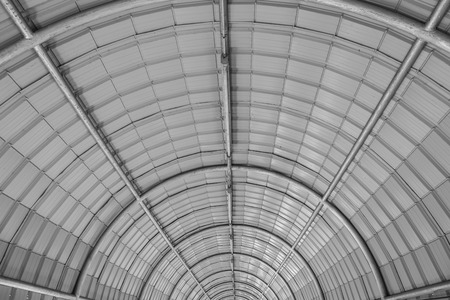 semicircle: Abstract Pattern of semicircle in Black and White. semicircle roofing structure made from metal tubing creates beautiful geometric pattern and shapes Stock Photo