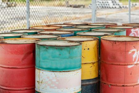 discard: petrol garbage in rusty tank discard form factory
