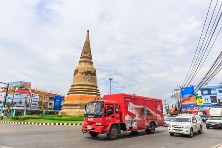 AYUTTHAYA, THAILAND - JULY 29: The truck and car in street at the city of Ayutthaya Historical Park at Ayutthaya, Thailand on July 29, 2015
