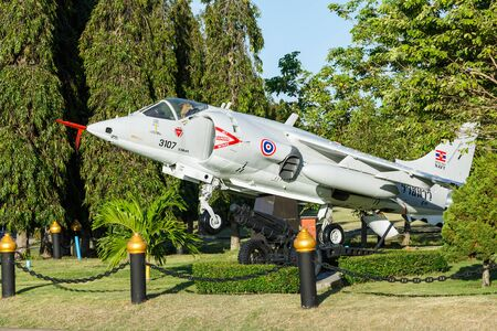 intrepid: SATTAHIP CHONBURI , THAILAND – AUGUST 24 , 2015  : The AV-8 fighter airplanes are in area of open air museum of The Marine corp Royal Thai Navy in Sattahip Chonburi , Thailand  on August 24 , 2015 Editorial