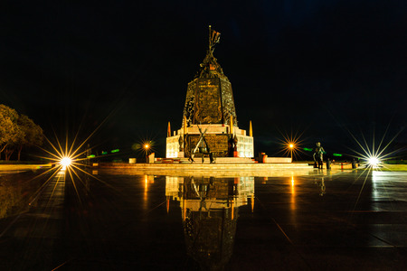 night time: SATTAHIP, THAILAND  AUGUST 26, 2015 : The Marine Corps Monument along the sea in night time in Sattahip Chonburi  , Thailand on August 26, 2015. Editorial