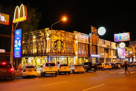 starbucks coffee: CHACHOENGSAO, THAILAND - SEPTEMBER 7 , 2015 : Starbucks Coffee at Motorway Rest Area where located middle way to PATTAYA town in night time in Chachoengsao, Thailand on September 7, 2015 Editorial