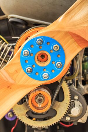engine powered: Close up the center of the Paramotor propeller and engine Stock Photo