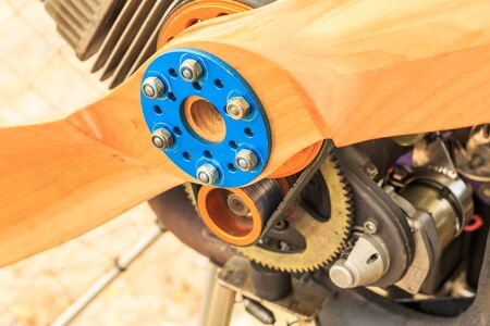 engine powered: Close up the center of the Paramotor propeller Stock Photo
