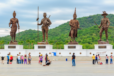 repeal: HUA HIN ,THAILAND-SEPTEMBER 20,2015 :Ratchapak Park and the statues of seven former Thai kings were constructed by the Royal Thai Army under royal permission from His Majesty King Bhumibol Adulyadej