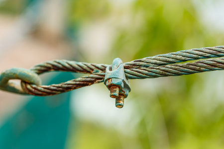 shackle: rusty shackle connect the sling in nature background Stock Photo