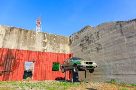mitigation: LAEM CHAbANG, THAILAND – DECEMBER 4 , 2015 : The Old car for Mitigation Training at Laem Chabang Industrial Estate early in the morning in Laem Chabang, Thailand on December 4, 2015