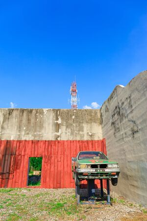 mitigation: LAEM CHAbANG, THAILAND – DECEMBER 11, 2015 : The Old car for Mitigation Training at Laem Chabang Industrial Estate early in the morning in Laem Chabang, Thailand on December 11, 2015