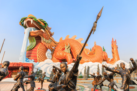 descendants: SUPHANBURI,THAILAND-DECEMBER 19 ,2015 : Bronze statue of Shaolin warriors monk at Dragon descendants museum, Suphanburi, on December 19,2015 Editorial