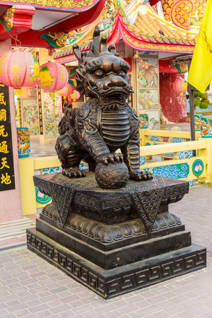 descendants: SUPHANBURI,THAILAND-JANUARY 11,2016 : Ancient kylin in The Chinese temple. Made of copper at Dragon descendants museum ,Suphanburi, Thailand on January 11,2016