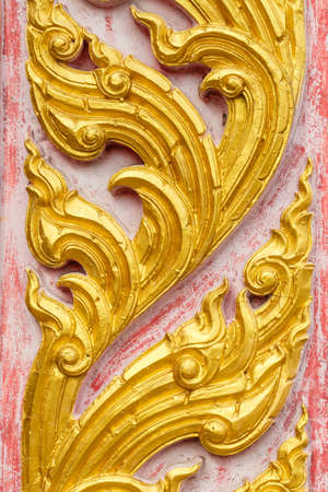 thai temple: Traditional Thai style pattern on cement wall Stock Photo