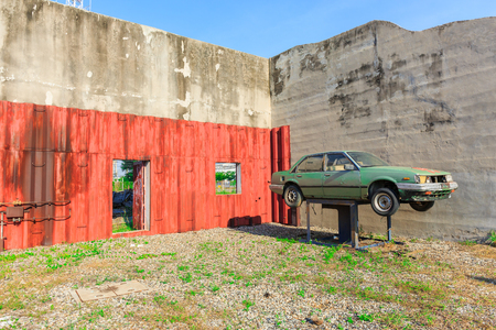mitigation: LAEM CHAbANG,JANUARY 16 , 2016 : The Old car for Mitigation Training at Laem Chabang Industrial Estate early in the morning in Laem Chabang, Thailand on January 16, 2016 Editorial