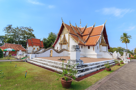 """min: NAN , THAILAND – JANUARY 31, 2016 : A view of Beautiful temple is name """" Wat Pu Min """". Located in Nan province northern of Thailand on January 31,2016"""