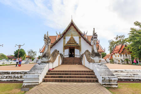 min: NAN , THAILAND - FEBRUARY 07, 2016 : A view of Beautiful temple is name Wat Pu Min. Located in Nan province northern of Thailand on February 07,2016