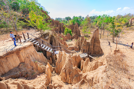 sua: NAN , THAILAND - FEBRUARY 1, 2016 : A view of the pillar of the soil is called Cok Sua. Located in Sri Nan national park, Nan province northern of Thailand on February 1,2016