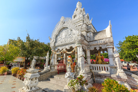unruffled: NAN , THAILAND MARCH 4, 2016 : A view of Beautiful Traditional Thai style art of stucco in The City Pillar Shrine . Located in Nan province northern of Thailand on March 4,2016 Nan in Thailand
