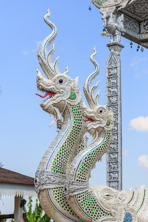 thai temple: serpent king or king of naga statue in thai temple