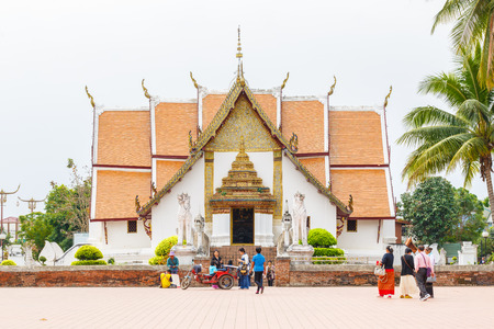"""min: NAN , THAILAND – MARCH 17, 2016 : A view of Beautiful temple is name """" Wat Pu Min """". Located in Nan province northern of Thailand on March 17,2016"""