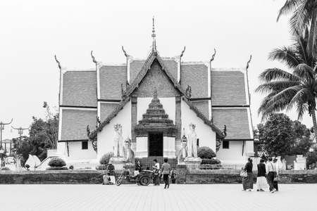 min: NAN , THAILAND - MARCH 17, 2016 : A view of Beautiful temple is name  Wat Pu Min . Located in Nan province northern of Thailand on March 17,2016