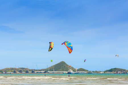 SATTAHIP, THAILAND - MAY 30, 2016 : The group of Kitesurfing   are competition Event Thailand Championship. This is the nice view of sailing and kitesurfing  clubs in Sattahip Chonburi, THAILAND on May 30, 2016