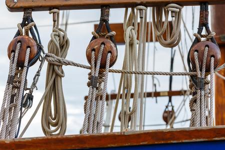 hoist: The Hoist and rope nautical on Sailing boat in Tahiti , PAPEETE, FRENCH POLYNESIA