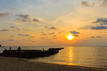 trat: Stone bridge in front of sunset background at Koh Chang Island Trat Province, Thailand