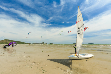 kiteboarding: SATTAHIP, THAILAND - MAY 28, 2016 : The group of Kitesurf and windsurf are practice for next completition. This is the nice view of sailing and kitesuef clubs in Sattahip Chonburi, THAILAND on May 28, 2016